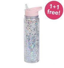 Trinkflasche XL: Glitzer – rosafarben/ silberfarben