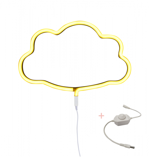 Lampe im Neonstil: Wolke – Gelb + Dimmer