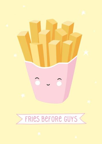 Postkarte fries before guys