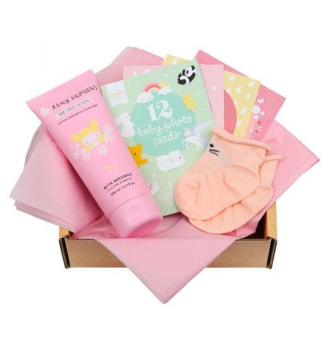 Baby Giftbox mit Tiny Humans Baby Bodylotion, 12 doppelseitige Baby Photo Cards, Babysöckchen (0-3 Monate)