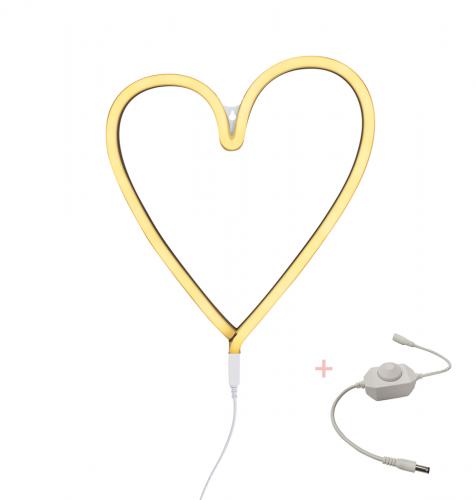 Lampe im Neonstil: Herz – Gelb + Dimmer