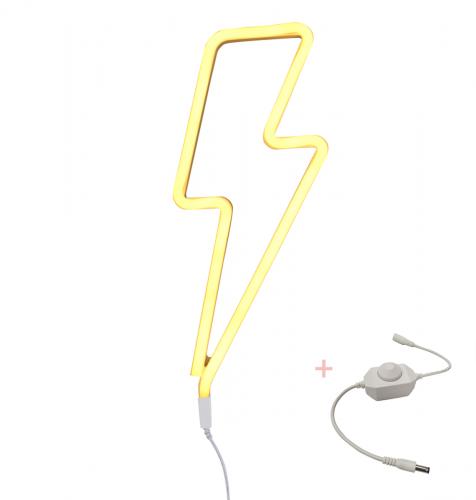 Lampe im Neonstil: Blitz – Gelb + Dimmer