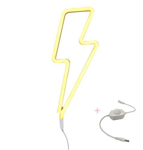 Neon style light: Lightning bolt - yellow + dimmer