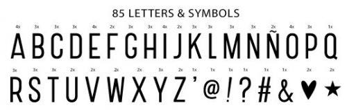Lightbox Buchstabenset: Basic - Schwarz