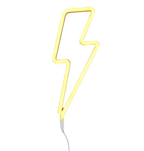 Neon style light lightning bolt yellow on