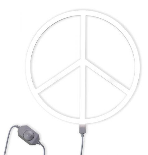 Neonstyle lampe peace sign weiß dimmer an
