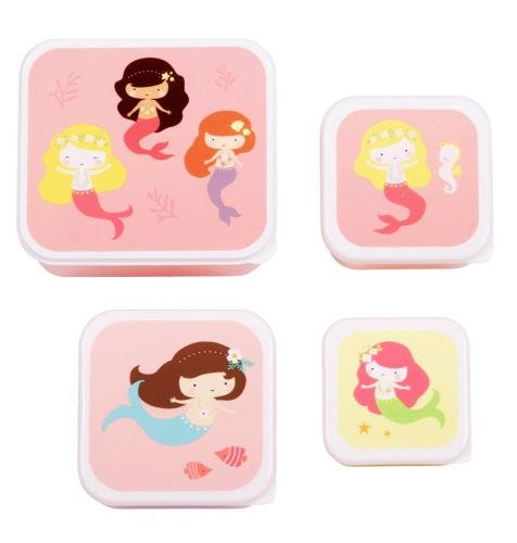 Brot- und Snackdosen Set: Meerjungfrauen