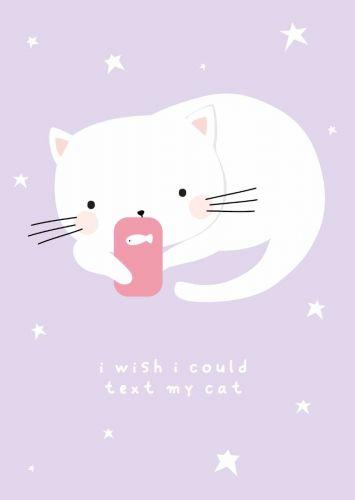 Postkarte texting cat