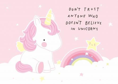 Postkarte trust unicorn